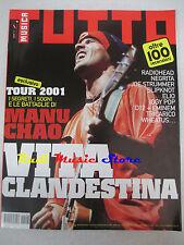 Rivista TUTTO MUSICA 8/2001 Manu Chao Radiohead Negrita Carmen Consoli  NOcd