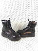 Jeffrey Campbell Black Leather Lace Up/Side Zip Platform Boots Women's Size 8