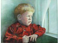 "M. JANE DOYLE SIGNED ORIGINAL ART OIL/CANVAS PAINTING ""JULES"" (PORTRAIT) FRAMED"