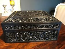 Early Anglo Indian Ceylonese Carved and pierced ebony box