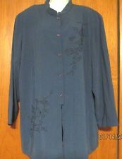 Maggie McNaughton~3X~blue~Chinese Collar~Long Blouse~Embroidered