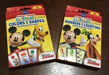Disney Mickey Mouse Color Shape Number Counting Learn Flash Card Game 2 Pack New