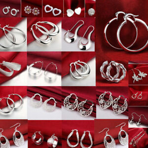 Exquisite Women 925 Silver Ear Stud Dangle Hoop Earrings Wedding Party Jewelry