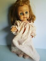 Doll with Closing Eyes Blonde Unmarked 18 Inch  Vintage