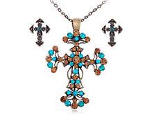 Easter Blue Topaz Crystal Rhinestone NEW Cross Ritual Pendant Earring Set Gifts