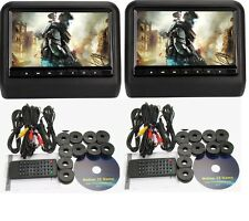 "2017 BLACK DUAL DIGITAL UNIVERSAL 9"" LCD SCREEN HEADREST MONITOR DVD PLAYER GAME"