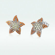 AAA 925 Sterling Silver Stud Earrings Starfish Charm Zircon For Women Jewelry