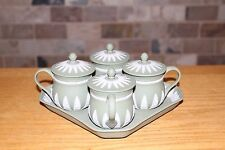 Rare Wedgwood Sage Green Jasper Ware Museum Series Limited Edition Custard Set