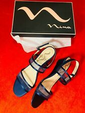 Nina New Filera Wedge Sandals Mesh Banded Shoes 8.5 Satin Blue Comfortable Women