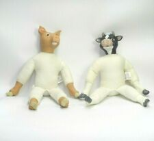 "SET OF 2 WANG'S INTERNATIONAL 1991 DOLLS COW & PIG NAKED 13.5"" TALL MUSLIN DECOR"