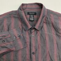 Structure Button Up Shirt Men's Size 44-46  Long Sleeve Maroon Gray Striped