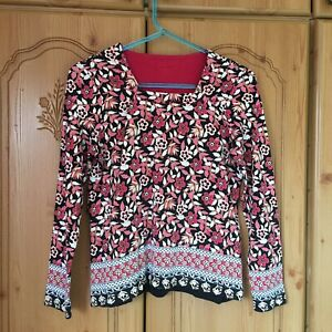 Dash Size 10 Ladies Womens Jumper Pullover Black Pink Floral Print Clothes