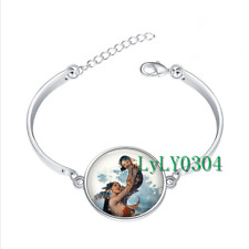 Baby and Mermaid glass cabochon Tibet silver bangle bracelets wholesale