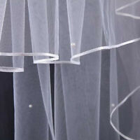 3 Layer Wedding Veil Satin Edge Elbow Length Bridal Veils With Pearls Comb Craft