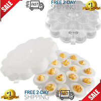 Deviled Egg Trays with Snap On Lids, Set of 2 Platter Carrier Plates Safe Tray