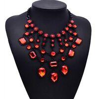 Rot, Glassteine, Statementkette, Halskette, Collier, Modeschmuck in schwarz neu