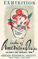 """Société historique de Chicago conception américaine 1941 exposition 12x8 """"réimpression d'affiche"""