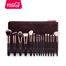 15PCs Makeup Brush Set Pro Natural Synthetic Hair Power Blending Brush + Bag MSQ