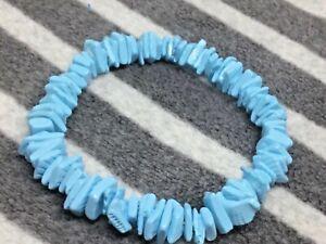 Blue Puka Shell Bracelet Surfer Beach Holidays Gift Hippy Boho Gift J184