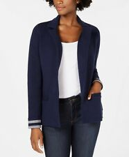 CHARTER CLUB Women's NWT Sweater Tab Sleeve Blazer Blue Size PM Berry Ball $129