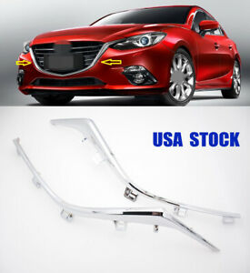 For MAZDA 3 AXELA 2PCS Front Bumper Chrome Grille Molding LH and RH Trim 2014