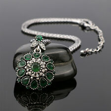 Hot Bohemia Vintage Jewelry Crystal Resin Pendant for Women Gift Necklace Green
