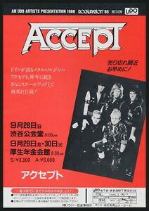 1986 Accept & Simple Minds Tokyo Japan Concert Tour Flyer Handbill UDO Artists