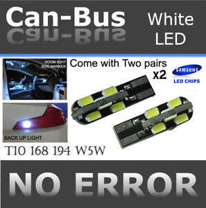 4x pc T10 168 194 Samsung 12 LED Chips Canbus White Plugin Step Light Lamps J377