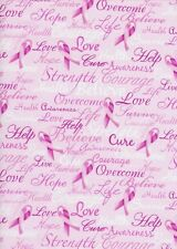 Timeless Treasures Inspirational Words & Pink Ribbons Cotton Fabric Yardage   D4