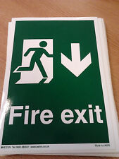 Fire Exit Sign Vinyl Sticker green white running man down arrow 15 x 20cm NEW