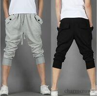 Mens Casual Harem Baggy Dance Sport Sweat Pants Capri Shorts Cropped Trousers