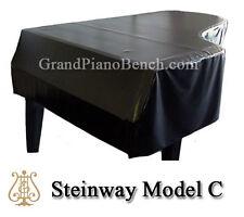 "Steinway Black Vinyl Grand Piano Cover Model C - 7'5"" - Side Slits"