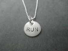 RUN Sterling Silver Running Necklace on 18inch Sterling Silver Ball Chain