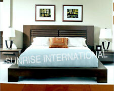 Contemporary Wooden Indian King Size Double Bed with 2 matching bed side cabinet