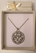 "Silver Tone 16"" Sparkly Cubic Zirconia Flower Necklace Bridal Wedding (A224)"