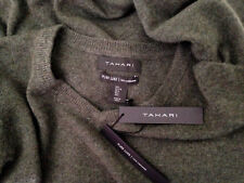 NWT Tahari Pure Luxe 100% Cashmere Men's Handsome Green V Neck Sweater L $245