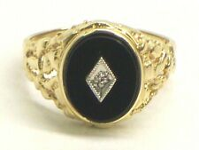 Men's Nugget Style Ring Size 10 Solid 10Kt Yellow Gold, Onyx And Diamond