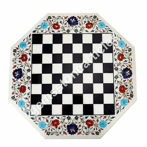 "22"" Marble Chess Coffee Table Top Collectible Arts Marquetry Decor Furniture"