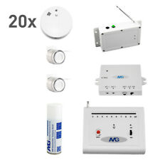 20 x Wireless Smoke Detector Set with Wireless Indoor Siren Fire Alarm System