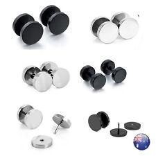 Men's Unisex Black Fake Ear Plugs Stainless Steel Stud Piercing Earrings Pair