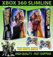 XBOX 360 SLIM STICKER BACK TO THE FUTURE DOC & MARTY GRAPHICS SKIN & 2 PAD SKINS
