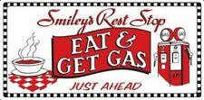 "Eat & Get Gas Smiley's Rest Stop Embossed Tin Sign 17""x8-1/2"" Gameroon Bar"