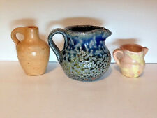 3 Mini Jugs Seagrove North Carolina NC Pottery Auman Lead Glaze and Turn & Burn