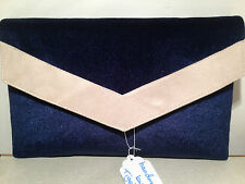oversize navy blue suede clutch bag in Women's Handbags | eBay