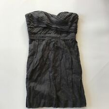 J Crew Crinkled Metallic Sparkle Strapless Dress SZ 12 Charcoal Party Occasion