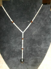 Silver BELCHER chain brown SMOKEY QUARTZ beads & a BLACK AGATE pendant