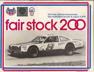 Wisconsin State Fair Park Speedway USAC Auto Race Program 8/13/1978-Foyt-FN