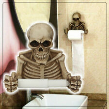 Halloween Skull Toilet Paper Towel Roll Holder Wall Mount Skeleton Bathroom Deco