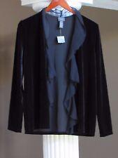 CHICO'S TRAVELERS Black Velvet Chiffon Trim Cardigan Jacket  Size 0 (4-6) NWT