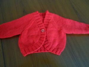 "baby girl red bolero cardigan 0-6 months 16"" chest"